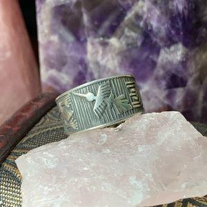 XL vintage sterling Native American fetish ring